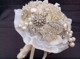 Handmade Brooch Bouquet - Ivory, Pearl and Crystal