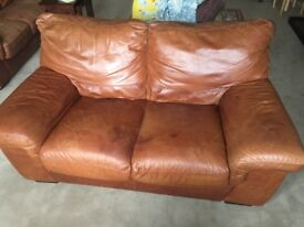 3 and 2 seater brown leather sofas