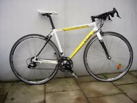 Racing/ Road Bike by BTwin, White & Yellow, Carbon/ Ali Composite Frame, JUST SERVICED/ CHEAP PRICE!