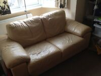 3 piece living room set in leather (Sofa, chair, footstool)