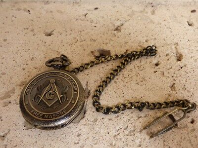 Masonic Square and Compasses Symbols Mason Pocket Watch Freemasons Bronze Finish