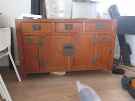 Large 'elm' cupboard/sideboard, with drawers.