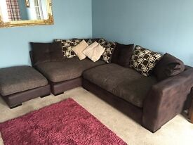 Brown fabric l-shaped sofa and snuggle chair for sale : 2 years old