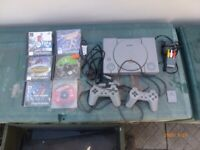 SONY PLAYSTATION ONE CONSOLE&TWO CONTROLLERS&SIX GAMES &MEMORY CARD