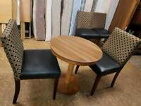Table &2 chairs(black leather and fabric chairs with oak table)