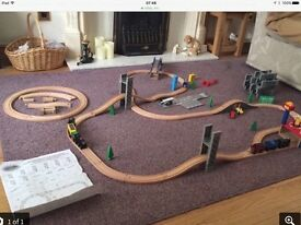 Wooden train tracks and all accessories