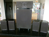 Mordaunt Short Alumni surround sound speaker system, boxed with 4 satellites, 1 front/centre and sub