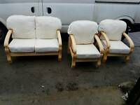 Wooden 2 seater sofa and 2 chairs