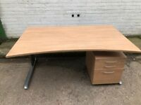 Executive office desk with matching pedestal drawers. 1600mm bow fronted exec desk.