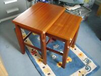 SET OF 2 SOLID WOOD NESTING TABLES