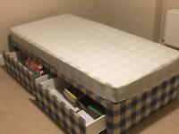 Single divan bed with storage drawers and mattress