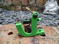 PRO HAND BUILT GREEN POWDER COAT TATTOO MACHINE LINER MY OWN DESIGN UK