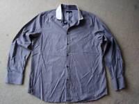 Jeff Banks shirt, grey with pin stripes, size large