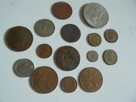Collection of assorted coins in pouch icl. 1942 farthing & Churchill 1965 comm crown