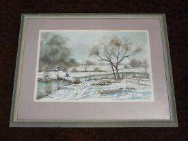 Snowscape watercolour (R H Bridge) (May swap / exchange)