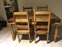 Solid wood sheesham dining table and chairs