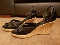 Black Cork Effect Wedge Heel Sandal