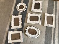 Selection of 7 distressed shabby chic picture frames