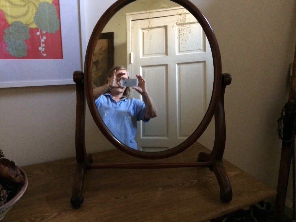 Vintage Mirror - free standing oval mirror on stand.