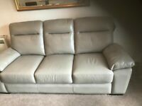 Great condition HARVEYS Real Leather 3 seater Grey/Taupe Sofa
