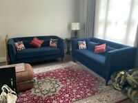 2-Seater Sofa Blue Velvet - New and Unused