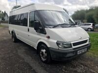 2002 52 FORD TRANSIT 2.4 TD 17 SEATER TWIN AXLE MINIBUS FULLY TINTED DRIVES A1 FULL MOT PSV PX SWAPS