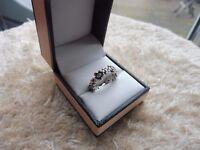 Genuine Pandora Sterling Silver & Zirconia Flower Band stacking Ring