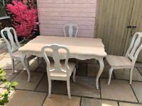 Shabby Chic Dining Table 4 chairs white Coach House