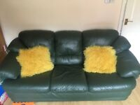Leather couches and an armchair