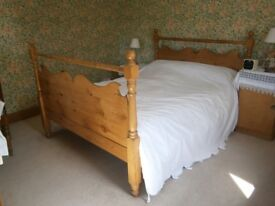 Pine Bed Antique Pine double bed, waxed finish, slatted base. Mattress size 5ft wide x 6.2ins long.