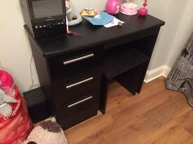 Bedroom furniture. Black leather double bed, bedside cabinet and desk with stool