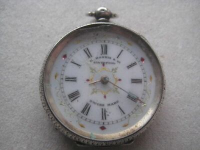 Antique E Harris&Co Liverpool Swiss Solid Silver Key Wind Pocket Watch 830AND21
