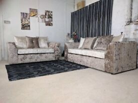 new julie crush velvet sofa set on special offer