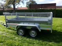 BRAND NEW 8.7x4.2 TWIN AXLE TRAILER WITH 40CM MESH AND A MANUAL TIPPING FEATURE