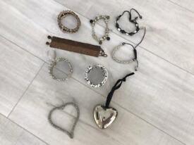 Bundle of bracelets and 2 decorative hearts