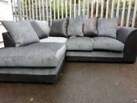 NEW Denver Charcoal Grey And Black Corner Sofa DELIVERY AVAILABLE