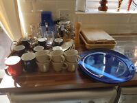 Selection of plates, cups, glasses, ice-crusher, ice-bucket, chopping board, cutlery tray + more