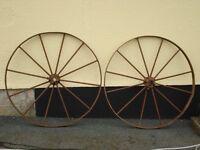 Pair of Antique Metal Wagon Wheels