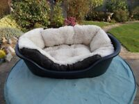 Black Plastic Dog Bed with Cosy Soft Insert (used)