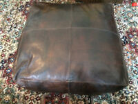 Large leather hand stitched foot stool / beanbag