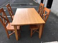 Solid Pine Dinner Table with 4 Chairs
