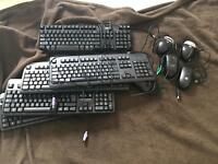5 keyboards and 5 mice for sale