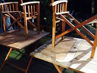 2 x foldaway wooden tables