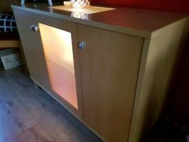 SIDEBOARD WITH LIGHT UP DISPLAY & Table & chairs