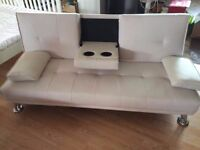 Brand New 3 Seater White Faux Leather Sofa Bed inc. 2 Drink Holders (FREE LOCAL DELIVERY!!!)