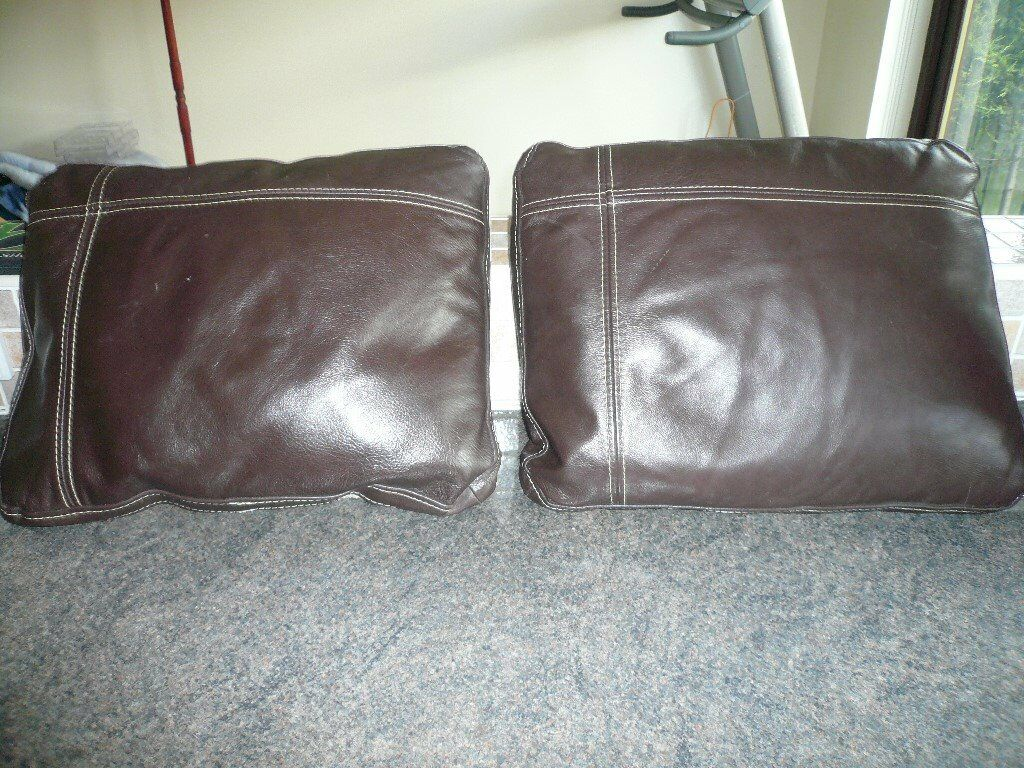 2 x Large Feather Brown and beige material cushions rectangular in shape.