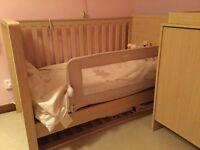 Nursery furniture set for sale: cot bed, wardrobe & cupboard/drawers