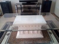 Large Glass Coffee Table with Moulded White Central base