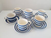 6 vintage blue white stripe tea cups and saucers shabby cornish ware style
