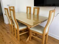 OAK FURNITURE LAND 100% OAK 6 chairs and table with glass protector